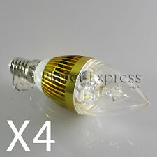 4x Ampoule 3W LED E14 Bougie Blanc Froid Couleur Or 220V 240 lumens equiv.25W