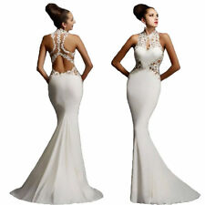 Sexy Sleeveless Lace Slim Maxi Formal Prom Wedding Party Gown Evening Long Dress