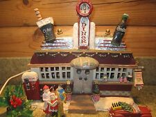 Vintage 1998 Coca Cola Christmas Village Diner Lighted ResinHouse Plus extras