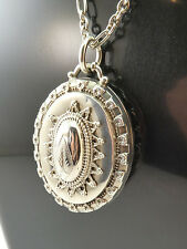 c1887, ANTIQUE 19thC VICTORIAN HM SOLID SILVER PENDANT LOCKET, LONG SILVER CHAIN