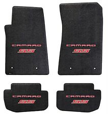 NEW! Ebony Floor Mats 2014-2015 Camaro Embroidered Logo and SS in Red on all 4