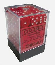 Chessex Dice d6 Sets Opaque Red with White 36 12mm Six Sided Die CHX 25804