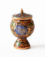 Vaso Cloisonnè Coppa Calice Cinese Oriental Ancient Antique Vase Copper H.5cm