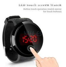 New Fashion Waterproof Men LED Touch Screen Day Date Silicone Wrist Watch Black