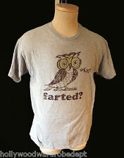 OWL shirt vintage WHO FARTED grey medium gray fart humor wise