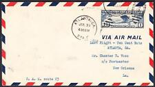 ATLANTA GA to NEW ORLEANS LA C10 Last Day Old Airmail Rate 1928 Flight Cover