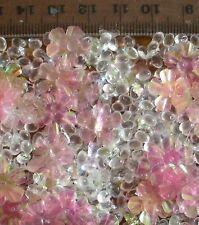 Rosa Fiore Perline e Iridescente Glitter Decorazione Tavola a dispersione circa 1/2 Pinta