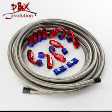 4-AN4 Stainless Steel Braided Oil/Fuel Line/Hose+Fitting/Hose End/Adaptor Kit SL