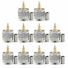 10Pc Connector UHF Male PL259 Plug Crimp RG58 RG142 LMR195 RG400 Cable Straight