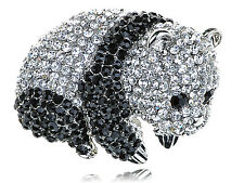 Fashion Black Silver Crystal Rhines Baby Panda Zoo Animal Pin Brooch B1176 UK