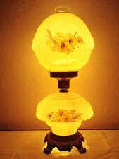 GONE WITH THE WIND VTG. 3-WAY PUFFY LIONS HEAD FLORAL MILK-GLASS HURRICANE LAMP