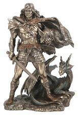"9"" Norse Viking Warrior & Dragon Statue Sculpture Figure Figurine Nordic Decor"