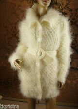 Mohair Handmade Fluffy Thick White Cream Cardigan Jacket Sweater Coat; size XL