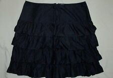 Garnet Hill 18 Women Rumba Rhumba Skirt Navy Blue Tiered Layered Ruffle Twirl