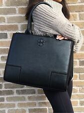 LAST 1 NWT Tory Burch ELLA Large Canvas & Leather Tote Handbag Computer BLACK