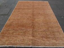 Hand Made Afghan Contemporary Gabbeh Wool Gold Stripy Modern Carpet 293x203cm