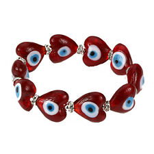 Evil Eye Murano Glass Heart Shaped Bead Protection Bracelet in Red