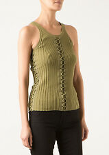 NWT ALEXANDER WANG Ribbed Khaki Green Sleeveless Knit Shell Top Small S $495