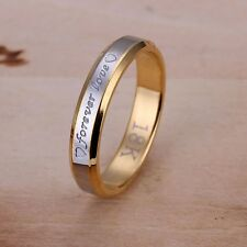18K REAL GOLD/WHITE GOLD FILLED 'FOREVER LOVE' ENGRAVED RING SIZE 7 (O)