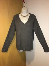 360 100% Cashmere Charcoal Gray Tunic Sweater Knit Top S M Perfect