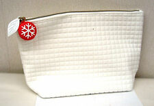 Clarins White Patterned Lined Bag - New