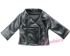 """Black Faux Leather Jacket - 18"""" Dolls and American Girl - NEW"""