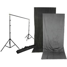 Impact Background Kit with 10x24' Charcoal/Smoke Gray Reversible Muslin Backdrop