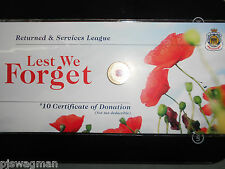 2012 REMEMBRANCE DAY RSL POPPY RED FLOWER $2 COIN ON CARD (NO MINTMARK) SEALED