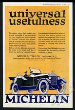 1919 Michelin Man Bibendum in car art vintage tires tire print ad