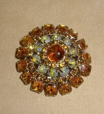 Juliana Pin Brooch in Dome Design in Citrine Opal & Golden Amber Rhinestones