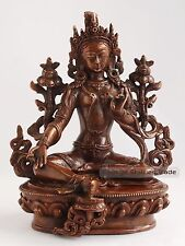 "Fine Hand Carved 8.75"" Green Tara/Dolma Oxidized Copper Statue From Patan, Nepal"