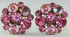VTG KARU ARKE PINK RHINESTONE CLIP EARRINGS