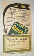 Rinso Ad, with Free Package Coupon Tear-Off (Circa 1930s)