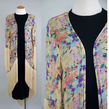 MINKPINK floral fringe kimono cardigan beach cover up XS Small