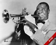 JAZZ LEGEND LOUIS ARMSTRONG PHOTO PRINTED SIGNATURE SIGNED ART REAL CANVAS PRINT