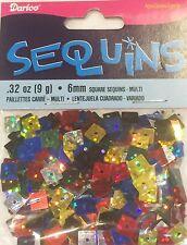 Darice Economy Craft ~ Square Sequins 6mm ~ Multicolor Hologram Mix Pk/600
