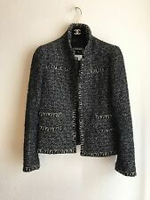 04A Chanel Classic Brown Black Metallic Tweed Jacket 36