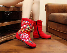 Women's Chinese Folk Embroidered Shoes Wedge Casual Floral Canvas Boots UK2.5-7