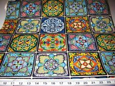 Fabric Elizabeth MEXICAN clay TILES PRINTED design folk art talavera style PANEL