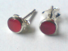 STERLING SILVER 4mm. ROUND STUD EARRINGS WITH CARNELIAN STONES only £5.50 NWT