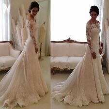 White Ivory Appliques Wedding Dress Bridal Gown Plus Size 2 4 6 8 10 12 14 16 18