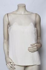 AKRIS Sugar Cream Pintuck Pleated Mesh Silk Blouse Tank Top Sz 10 NWT $1,390