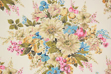 1970's Retro Vintage Wallpaper Large Floral Bouquets Pink Blue