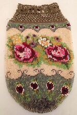 Gorgeous Antique Glass Micro Beaded Evening Drawstring Bag Purse Pink Red Rose