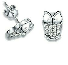 1 Pair Fashion Classic White Gold Plated Rhinestone Crystal Owl Stud Earrings