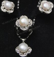 white Akoya Cultured Pearl Earrings/Ring/ Necklace Pendant Set AAA