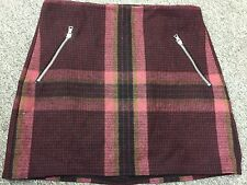 NWT Gap Plaid Burgundy Wool Blend Mini Skirt Straight Decor Zipper Sexy Size 6