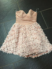 ASOS PEACH PINK 3D FLOWERS STRAPLESS DRESS SIZE 10