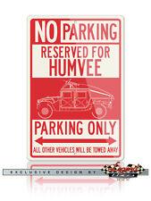 HUMVEE Hummer H1 Military Slantback 4X4 Reserved Parking Only 12x18 Alu. Sign