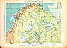 Carta nautica antica SVEZIA Sweden NORVEGIA FINLANDIA 1920 Old nautical map